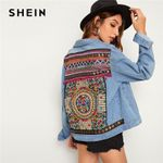 Embroidered Back Pocket Coat Women Streetwear Denim Jackets