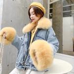 Velvet thick big fur collar locomotive lamb coat Denim Jackets