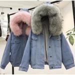 Fur Winter Jeans Hooded Velvet Coat Windbreake Denim Jackets