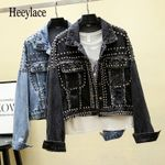 Styles Hand Studded Rivet Short Jeans Coats Streetwear Denim Jackets