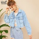 Ripped Frayed Edge Flakes Crop Casual Single Breasted Denim Jackets