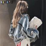 Bat sleeve tassel short loose burr Fashion outwear Denim Jackets