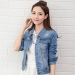 Light Bomber Short Jeans Casual Ripped Outwear Denim Jackets