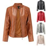 Fashion Short Coat Leather Parka Zipper Tops Overcoat Outwear Jackets