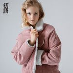 Corduroy Basic Lambswool Bomber Long Sleeve Breasted Jackets