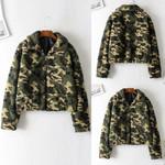 Fashion camouflage Casual Zipper Pockets Long Sleeve Fashion
