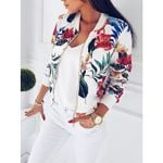 Fashion Retro Floral Zipper Up Bomber Casual Coat Jackets