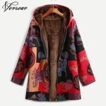 Floral Print Coat Hooded Open Front Warm Outerwear Jackets