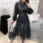 New Fashion Solid Color Long Mesh Gauze Stitching Leather Jackets