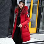 Long Parka Fur Collar Casual Slim FashionCotton Jackets