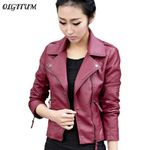 Zipper Fashion Slim Soft PU Leather Short Outwear Jackets