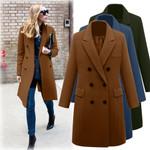 Wool Overcoat Lapel Long Outwear Manteau Coats