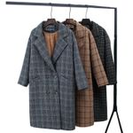 Check Velvet Notched Warm checkered Woolen leece Office Coats