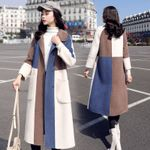 Wool Fashion Covered Button Patchwork Woolen Coats