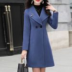 Solid Vintage Office Long Sleeve Button Woolen Coats