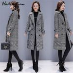Blends Plaid Trench Elegant Outerwear Casual Coats