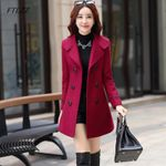 Wool Blend Warm Long Plus Size Slim Fit Lapel Overcoat Coats