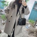 Woolen Long Sleeve Turn-down Collar Outwear Overcoat Coats