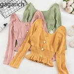 Long Sleeve Sweet Solid Short Early Knitted Pullovers Sweaters