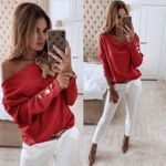 Knitted Basic Off shoulder SLoose Solid Tops Sleeve Button FashionSweaters