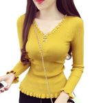 New Fashion Beading V-neck Knitted Tops Solid Slim Elasticity Sweaters