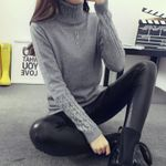 Fashion turtleneck twisted thickening slim pullover Sweaters