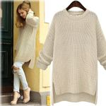 Midi Long Thick New Irregular O-Neck Cute Solid Knitted Pullovers Sweaters