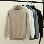 Turtleneck Warm Jumper Thick Ribbed Knitted Pullover Sweaters