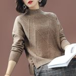Loose casual Solid color long-sleeved Knitwear Sweaters