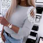 Pullover Casual Off Shoulder O Neck Beading Knitted Sweaters