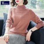 Solid Knitted Pullovers Fashion Casual Warm Elegant Sweaters