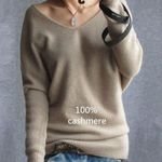 Cashmere fashion sexy v-neck loose 100% wool batwing sleeve Sweaters