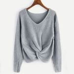 Pull hiver Long Sleeve Solid Color V-neck Sexy Cross Knotted Panel Sweaters