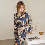 Fashion Pajamas Bathrobe Pants Set Style Floral Print Sleepwear Kimono