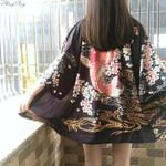 Satin vintage stage performance costume traditional robe Kimono