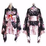 Printed Lolita Pink Short Sexy Layered Skirt  Maid Cosplay Kimono