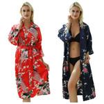 Costumes Dress with Belt Satin Silk Cardigan Sleepwear Kimono