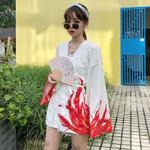 Cardigan Dragon Printed Long Sleeve Shirt Casual Kimonos