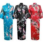 Long Style Loose Satin Peacock Sleepwear Oriental Kimono