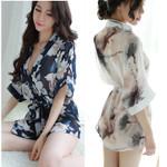 Style Dress Sexy Transparent Floral Printed Sleepwear Kimono
