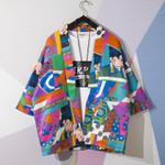 Traditional Style Ukiyo-e Print Cardigan Streetwear Kimono