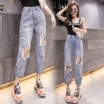 High Waist Ripped Items For Clothes Wide Leg Streetwear Fashion Jeans