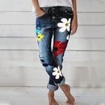 Fashion Denim Pants Med Waist Skinny Slim Pant Denim Jeans