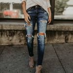 Fashion Bleached Ripped Cotton Denim Slim Elasticity Skinny Pants Jeans