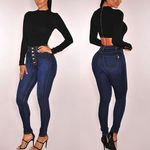 Waist Sexy Slim  Fashion Chic Pencil Skinny Jeans