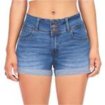 High-Waist Jean Button Zipper  Denim Scratched Pocket Short Denim