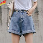 Streetwear High Waist Wide Leg New Jean Short Denim