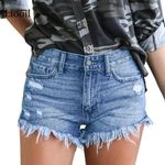 Plus Size Casual Mid Waist Cotton Sexy Rave Jean Fashion Short Denim