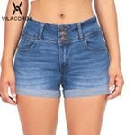 High-Waist Zipper Botton Fashion Pocket Modis pantalones Short Denim