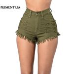 Fashion Tassel Ripped High Waist Sexy Booty Trousers Short Denim